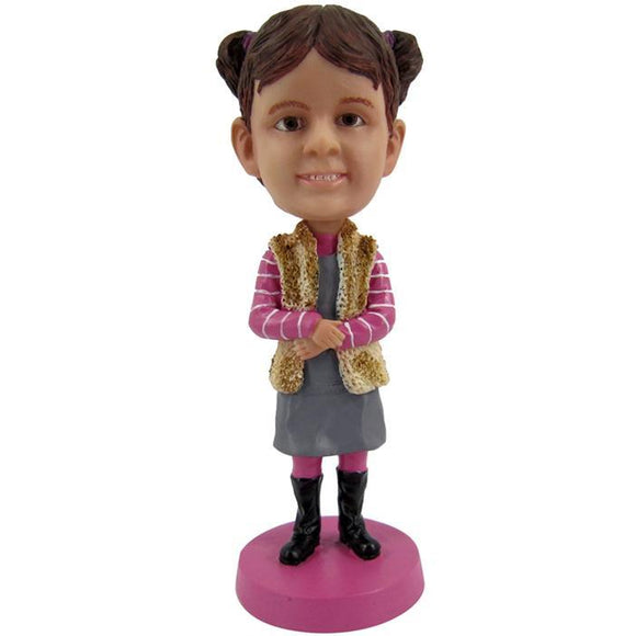 Cute Girl Custom Bobblehead With Engraved Text