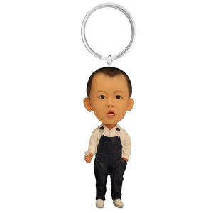 Small Boy With Overalls Custom Bobblehead Key Chain