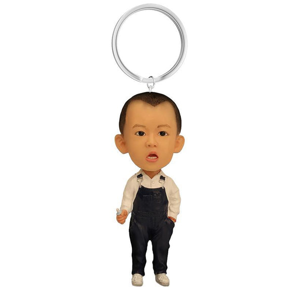 Small Boy With Overalls Custom Bobblehead With Engraved Text Key Chain