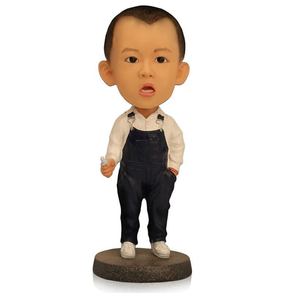 Small Boy With Overalls Custom Bobblehead With Engraved Text