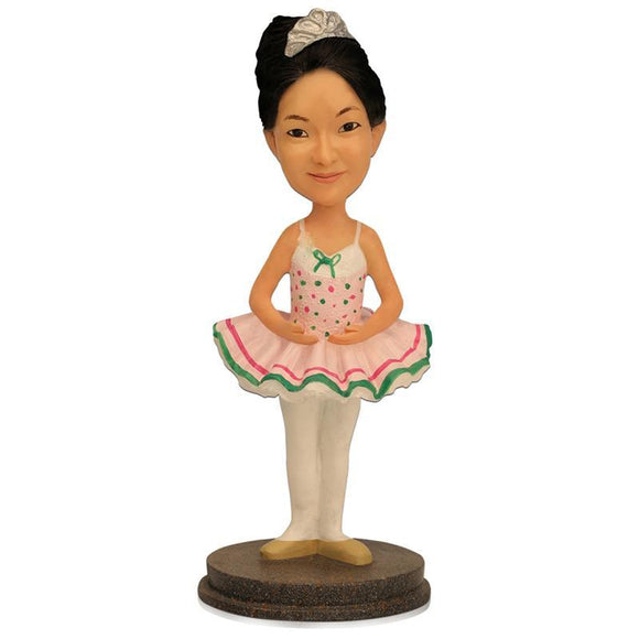 Small Girl With Dancing Dress Custom Bobblehead With Engraved Text