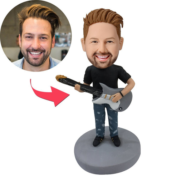 Guitar Man Custom Bobblehead With Engraved Text