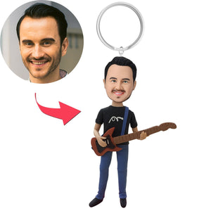 Guitar Player Custom Bobblehead With Engraved Text Key Chain
