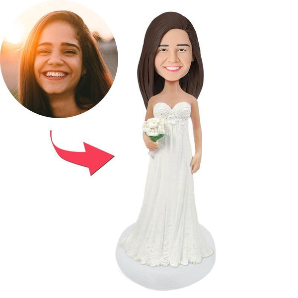 Beautiful Bride Wedding Custom Bobblehead With Engraved Text