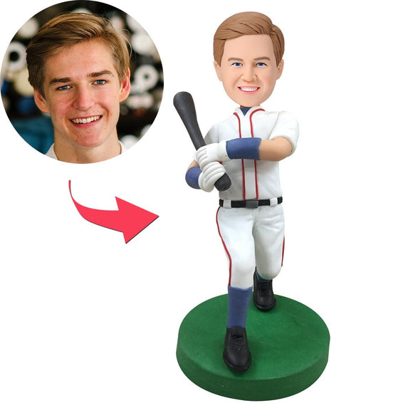 Baseball Batsman Wear White clothes Custom Bobblehead With Engraved Text