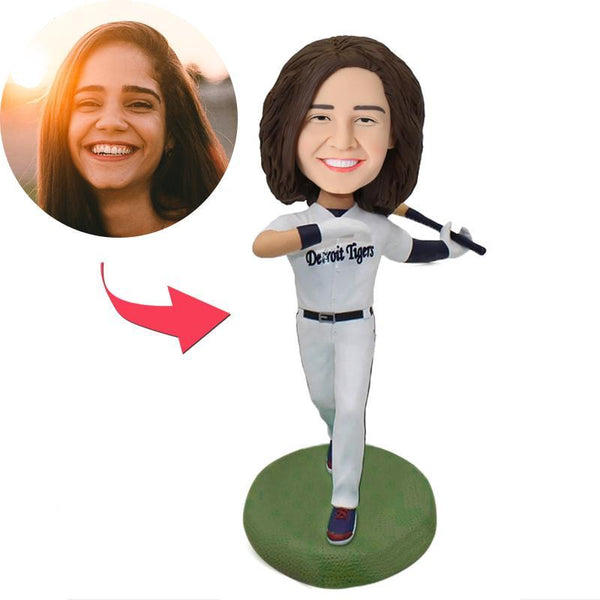 Baseball Female Batsman Custom Bobblehead With Engraved Text