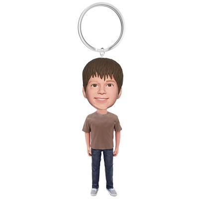 Teenager Custom Bobblehead With Engraved Text Key Chain