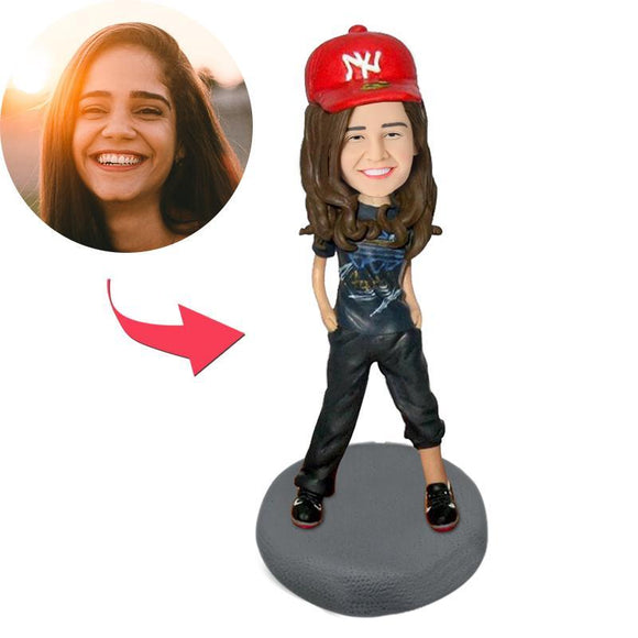 Hip Hop Girl Custom Bobblehead With Engraved Text