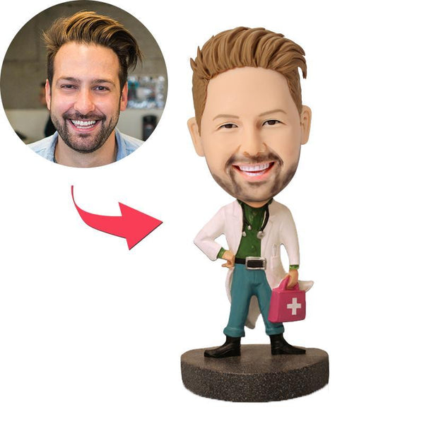 Doctor With Medical Kit Custom Bobblehead With Engraved Text