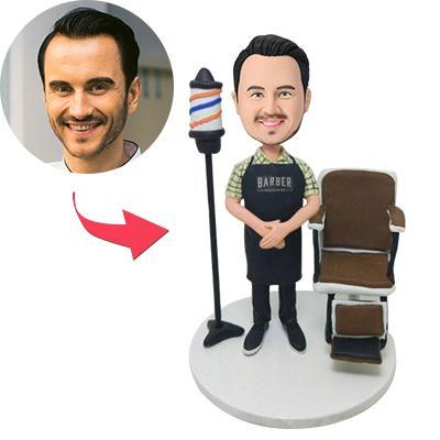 Barber With Chair Custom Bobblehead With Engraved Text