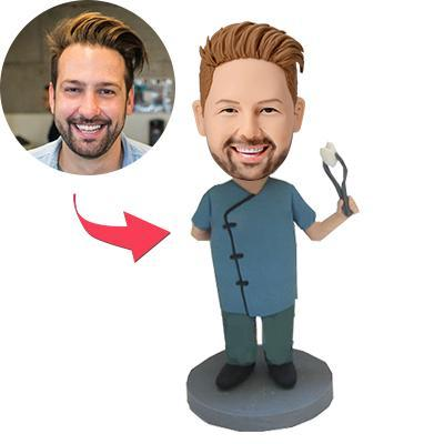 Dentist With Dental Forceps Custom Bobblehead With Engraved Text