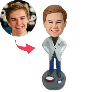 Handsome Dentist Custom Bobblehead With Engraved Text