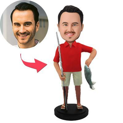 Go Fishing Custom Bobblehead With Engraved Text