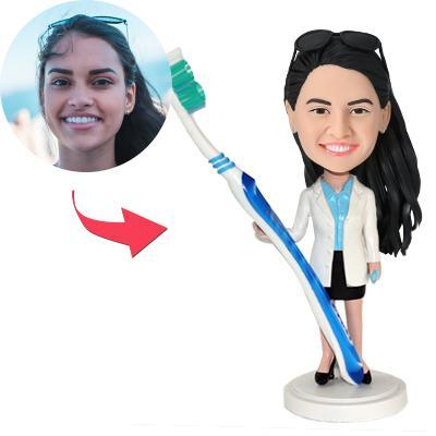 Female Dentist With A Toothbrush Custom Bobblehead With Engraved Text