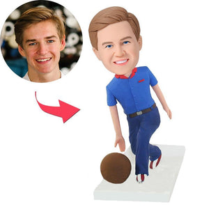 Bowling Player Custom Bobblehead With Engraved Text