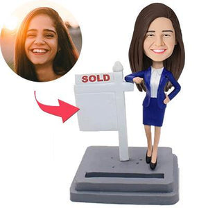 Female Realtor Custom Bobblehead With Engraved Text