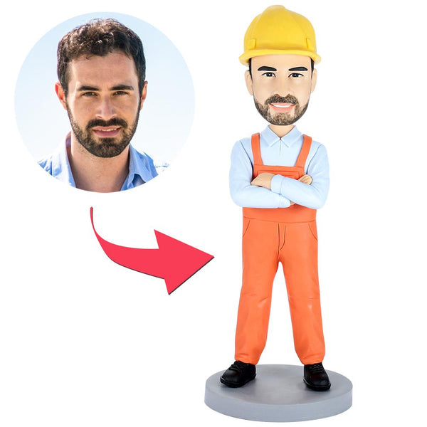 Bulider Construction Worker Custom Bobblehead With Engraved Text