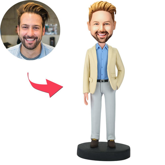 Businessman With Hand In Pocket Custom Bobblehead With Engraved Text