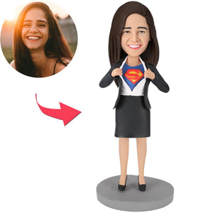 Mother's Day Gifts - Office Superwoman Popular Custom Bobblehead With Engraved Text