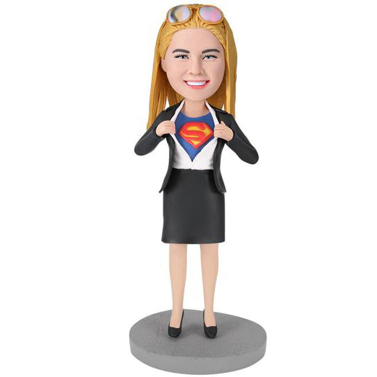 Office Superwoman Custom Bobblehead With Engraved Text