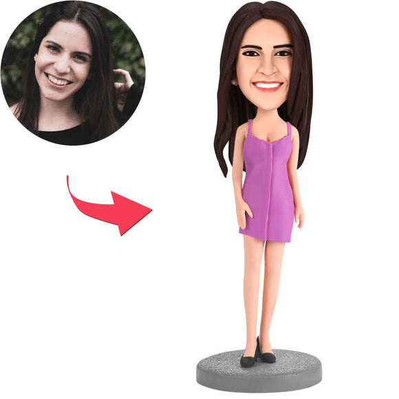 Woman Wearing A Purple Skirt Custom Bobblehead