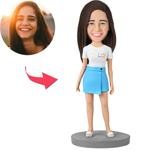 Fashion Girl Wearing Blue Skirt Custom Bobblehead With Engraved Text