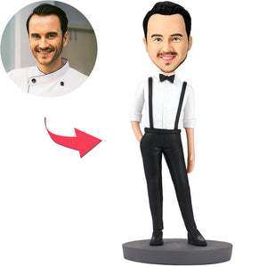 Handsome Man In Bib Pants Custom Bobblehead With Engraved Text