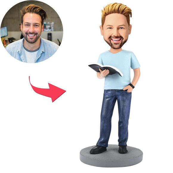 Modern Reading Book Man Custom Bobblehead With Engraved Text