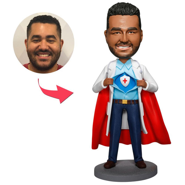 Cool Super Doctor With Medical Shield Custom Bobblehead
