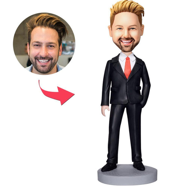 Business Man In Black Suit Custom Bobblehead With Engraved Text
