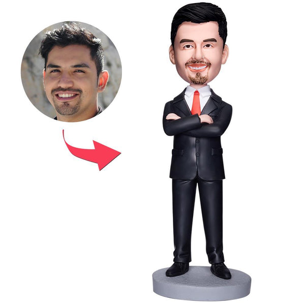 Business Man Arms Folded Custom Bobblehead With Engraved Text