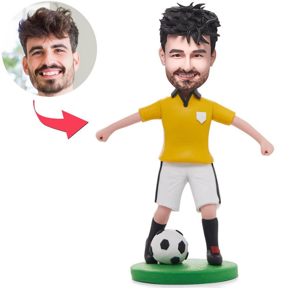 Soccer/football Player Dribbling In Yellow Shirt Custom Bobblehead With Engraved Text