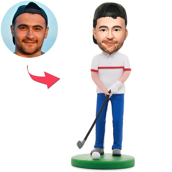 Happy Golfer Man Custom Bobblehead With Engraved Text