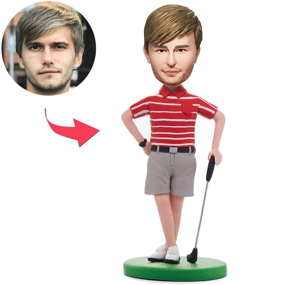 Golfer Posing In Red Shirt Custom Bobblehead