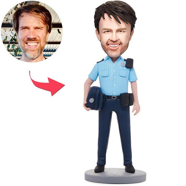 Male Police Officer Custom Bobblehead With Engraved Text