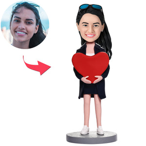 Valentine's Day Gifts Custom Women With Heart Bobbleheads