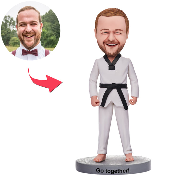 Custom Martial Arts Man Bobbleheads With Engraved Text
