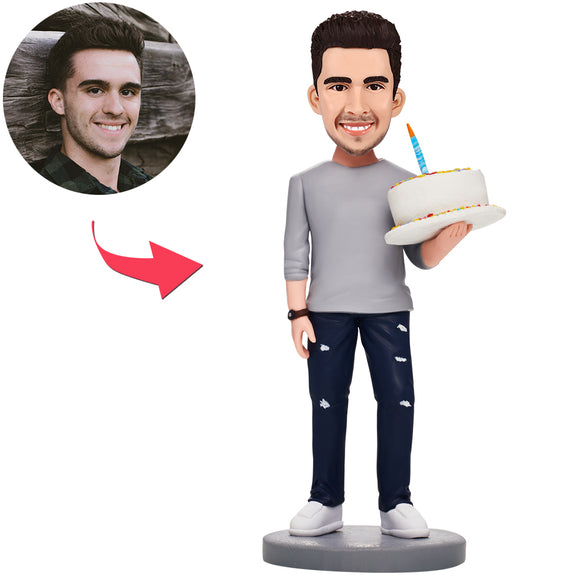 Birthday Gifts - Custom Man Holding Cake Bobbleheads With Engraved Text