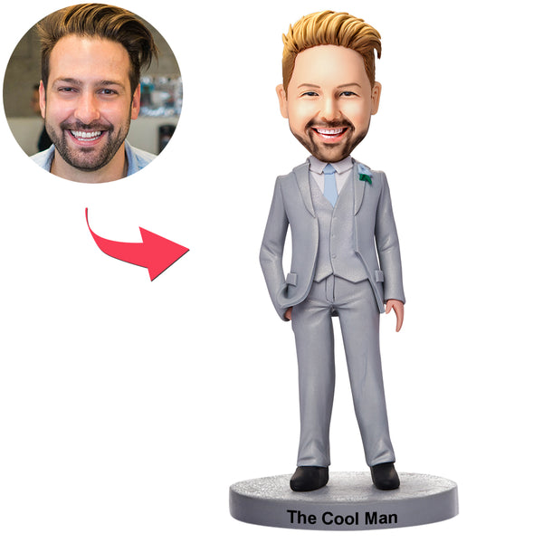 Custom Business Man In Grey Suit Bobbleheads With Engraved Text