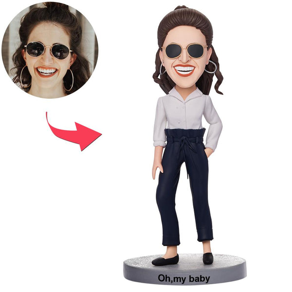 Custom Casual Beautiful Girl Bobbleheads With Engraved Text