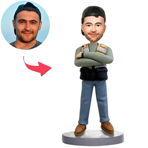 Custom Male Worker Bobbleheads With Engraved Text