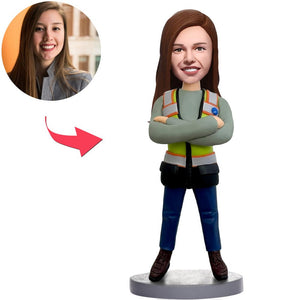 Custom Female Worker Bobbleheads With Engraved Text