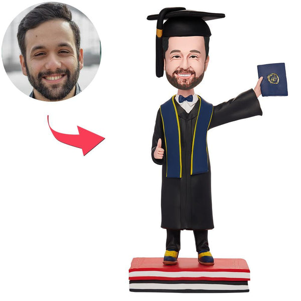 Custom Graduation Man Hold Diploma Bobbleheads With Engraved Text