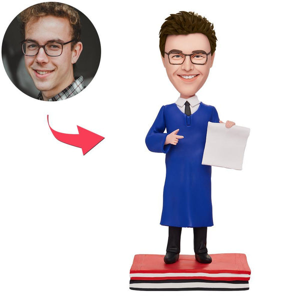 Custom Cool Graduation Man Bobbleheads With Engraved Text