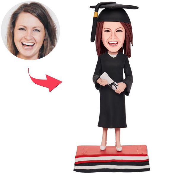 Custom Graduation Girl Bobbleheads With Engraved Text
