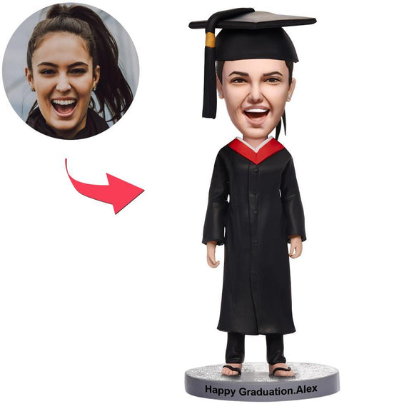 Custom Graduation Happy Girl Bobbleheads With Engraved Text