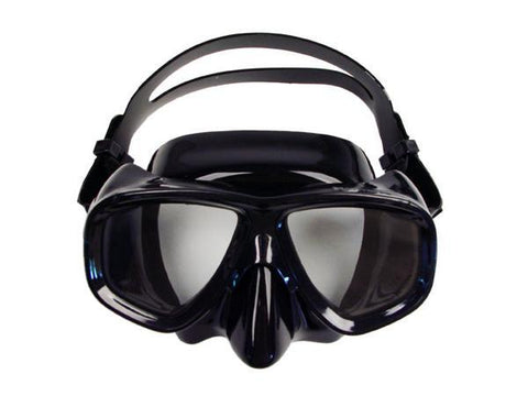 Low-profile dual lens mask with black frame and black skirt