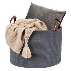 "Homdiy Woven Baskets Storage 20""×13"" Large Cotton Rope Basket with Real Leather Handles for Blanket ,Kids Toys(Dark Grey)"