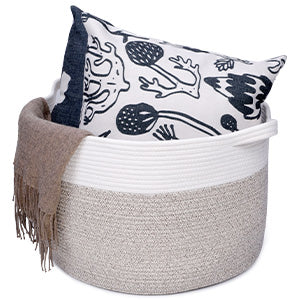 Homdiy 20''20''13'' XXL Large Storage Basket Cotton Rope Woven Basket for Storage