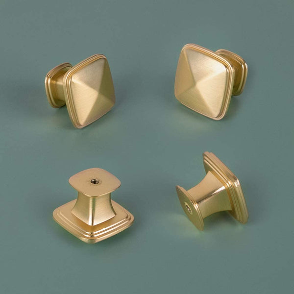 Homdiy Square Cbinet Knobs Brushed Gold Cabinet Hardware Knobs for Kitchen Cabinets